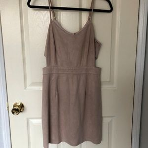 F21 Nude/Light Pink Suede Body Con with Cut-Outs